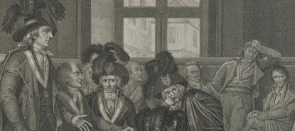 Gravure représentant le Tribunal révolutionnaire, par Cazenave.